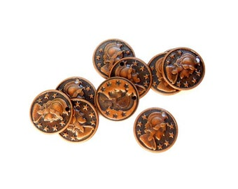 10 Antique Copper Coin Charms - 21-23-8