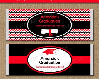 2018 Graduation Chocolate Bar Wrappers - EDITABLE Red Black Chevron Graduation Party Supplies - DIY Graduation Template Instant Download G3