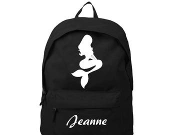 bag has black Mermaid personalized with name