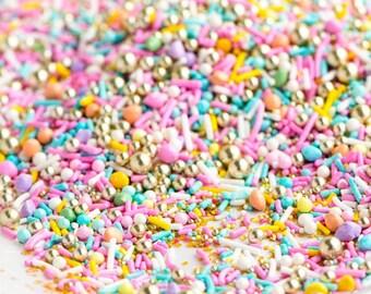 LUXURY SWEET Twinkle Sprinkle Medley - 4 oz (1/2 cup) jar - Jimmies, Skinny Sprinkles, Canadian - Sweetapolita