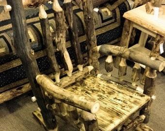 Dark Colorado Aspen Log Rocking Chair Wood Rocking Chair Log Rocking Chair  Burnt Wood Rocking Chair