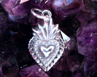 Small Sterling Silver Sacred Heart Charm - Sacred Heart Pendant - Flaming Heart