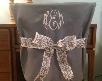 Desk Chair Covers/Gray Monogrammed Dorm Chair Back Cover / Personalized Chair  Cover / Office Chair / Dining Chair/ One Size Fits Most