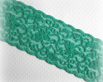 """Green Stretch Lace Trim. 2.5"""" Wide. Christmas Green Wide Lace Elastic. 2 Yards"""