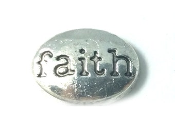 1 PC - Faith Silver Charm for Floating Locket Jewelry F0097