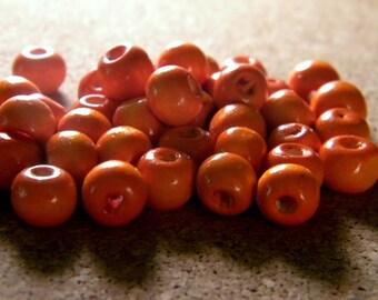 50 wooden painted beads - orange - 8 mm shape barrel B8