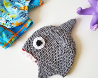 Handmade Crochet Shark hat, baby child and adult size, shark week, shark dress up, shark gift, cute baby gift, new baby, baby shark