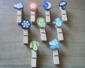 set of 9 clothespins with pattern weather, rain, snow, Sun, wind for photos or DIY decoration