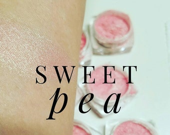 SWEET PEA Mineral Make up Eye Shimmer - 5ml or NEW Larger Size 10ml. Sifter Jar - Vegan Friendly,  light Pinkish Cream Frost Shimmer