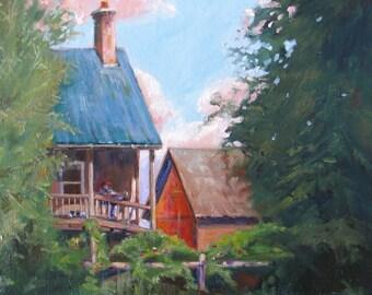 Original oil painting, Fall harvest art, farmer dog art, impressionism landscape, canvas art. wall decor, Janice Trane Jones 12 x 12