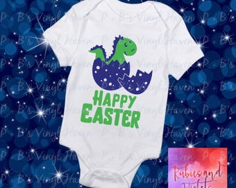 Easter/'Happy Easter' with Dinosaur/Egg Shirt/Bodysuit/Easter Photos/Baby's First Easter/Boy Easter Shirt/Bodysuit