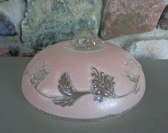 Vintage Pink & Clear Glass Shade for Chandelier Ceiling Light Fixture 3-Holes for Hanging