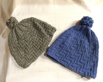 Rimpa Hat - Gray or Med. Blue - 100% Yak Down Wool - 5208
