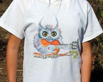 """Organic cotton t-shirt, fair trade and organic""OWL guitarist""ink""OWL violinist""owls in love"" ""OWL juggler"" JfG"