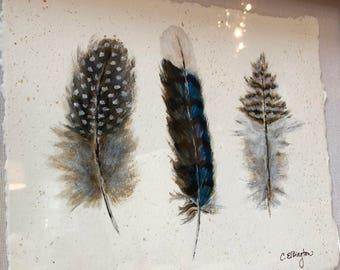 Feather Trio Original Painting