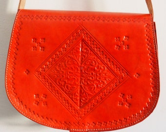 Genuine Moroccan red Leather bag