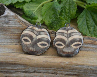 African Masks - Handmade Porcelain Picture Bead Pair