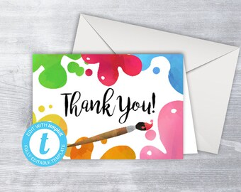 Thank you Card, Paint Thank You Card, Editable birthday thank you, Painting thank you, Editable thank you, Templett, Instant Download,