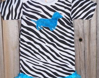 Zebra Print Onesie w/ Teal Dachshund and Ruffle legs