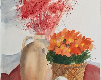 Flowers, original watercolor painting,11x14 painting