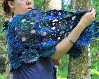 Treasures Of Mermaids - Unique And Original Crochet Japanese Flower Shawl From Handspun Handmade Yarns In Blue Green Colours !FREE SHIPPING!