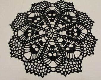Skull Doily - Crochet Doily - Crochet Lace - Skull Lace Doily - Needle work- Crochet - Skull Lace
