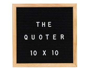 Felt Letter Board Black 10X10 With 346 Letters, Numbers, Emoji and Symbols. Includes Free Letter Pouch