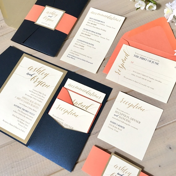 Merveilleux Navy, Coral And Gold Wedding Invitations, Navy And Coral Wedding Invitations,  Navy And Gold Pocket Wedding Invitations