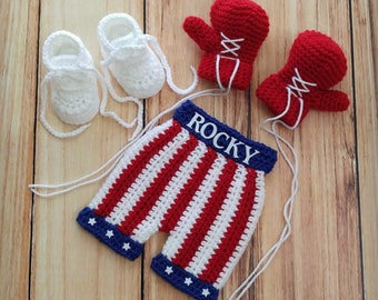 Crochet Rocky Boxing Set - Baby Boxing Set -Boxing Shorts - Boxing Gloves - Crochet Boxing Outfit - Newborn Photo Prop - Baby Boy - Boxer