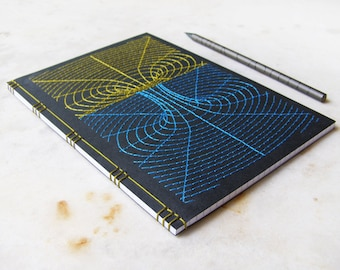 Black Hole Embroidered A5 Notebook. Tunnel 3D Journal. 3D Geometric Design Book. Paper Embroidery. Men's Notebook. Science Art A5 Journal