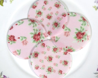 Edible Pink Cottage Chic Rose Floral Chintz Pastel Wafers Rice Paper Summer Flower Wedding Spring Cake Decoration Cupcake Cookies Topper RTD