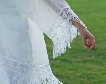 White Cotton Tulle Kimono with Tassels