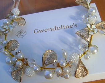 A Lovely Gold and Pearl Hair Piece