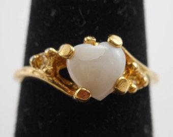 Vintage Vargas 18KT GE Gold Plated Opal Heart Ring Size 6 1/4