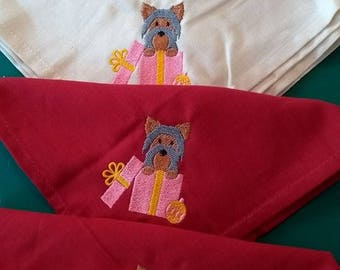 Embroidered Yorkie,Yorkshire Terrier Christmas/Holiday Napkins and Matching Table Runner