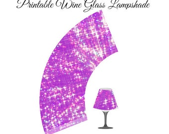 Purple Printable Lampshade, Wine Glass Lampshade, DIY Party, Paper Lampshade, Wine Glass Lamp, Lamp Shade