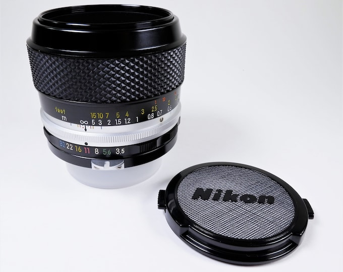 Nikon Micro-Nikkor-P Auto 55mm f3.5 Type F Lens w/ Nikon Front Lens Cap - Near Mint Condition - Excellent All Around Lens with Macro - 1972