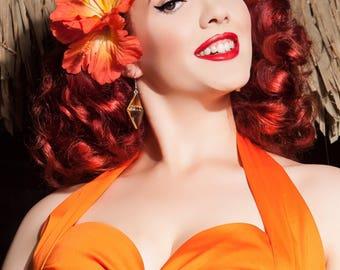 Double Orange Hibiscus Tiki Pinup Hair Flower