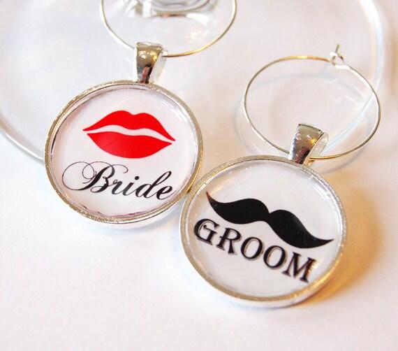 Bride Groom Charms, Wine Charms, Wedding Wine Charms, Wedding Shower, Bridal Shower, table setting, silver plate (1997)