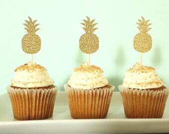 Pineapple Cupcake Toppers - Beach Cupcake Toppers - Hawaii Cupcake Toppers - Tropical Cupcake Toppers - Girls Night - Pineapple Party Decor