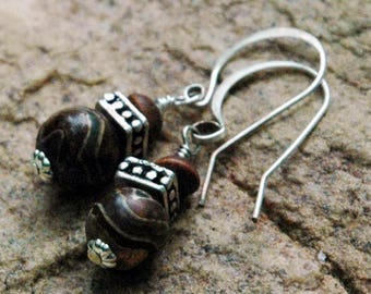 Dzi Bead Earrings, Tibetan Agate, OliveWood and Silver Beaded Earrings,  Hand Shaped & Hammered Earring Wires, Small Pretty Earrings