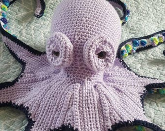 Giant handmade crochet octopus, stuffed animal, plush octopus, ocean creature