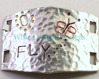 "Large Hand Stamped ""FLY"" BUTTERFLY Bracelet Connector.. Hammered silver cuff bracelet connector for beaded watch bands"