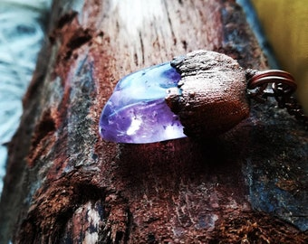 Night Elf - Handmade Copper Necklace with electroformed Amethyst Gemstone Pendant Crystal