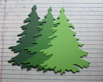"""24 Pieces Green Cardstock die cuts Evergreen Fir Trees 4 3/4"""" tall 3 colors 8 of each"""