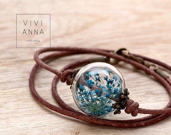 Joy of life (Leather necklace) Handmade Jewelry Gift for Women Gift for Her Annes lace | K341