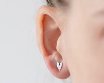 Heart Earrings Silver, Heart Post Earrings, Heart Silver Earrings, Heart Stud Earrings, Love Earrings, Heart Posts, Heart Studs