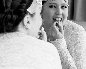 BRIDAL Cover Up, Bridal Shrug, Wedding Bolero, with Gathered Cuff