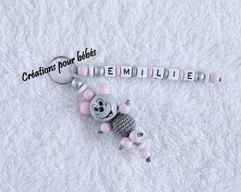 """Keychain 3D """"Mouse"""" with wooden beads with the name of your choice"""