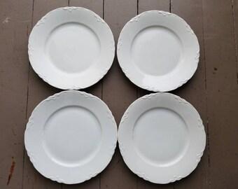 Vintage Hutschenreuther Racine Pattern All White Salad Plates set of 4